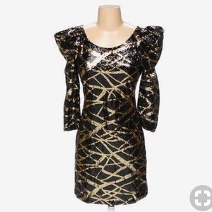 Arden B black and gold sequin Art Deco dress